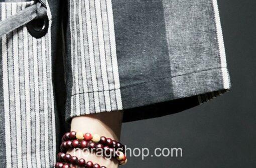 Dark Color Striped Streetwear Noragi 11
