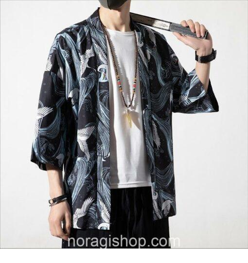 Cranes Blue Pattern Traditional Streetwear Noragi 4