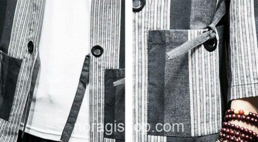 Dark Color Striped Streetwear Noragi 12