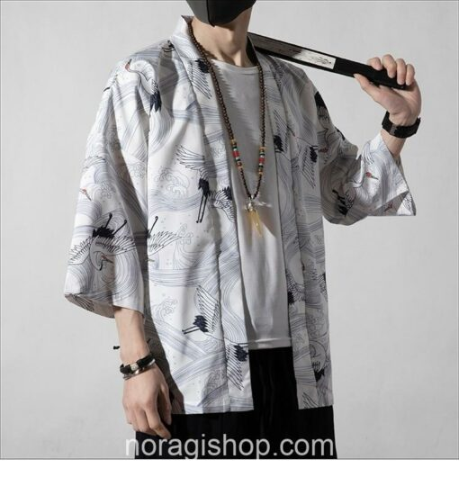 White Cranes Pattern Traditional Streetwear Noragi 5