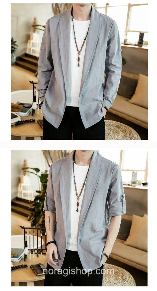 Bright Gray Linen Style Noragi 4