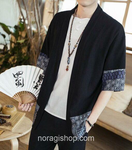 Black Traditional Pattern Streetwear Noragi 4