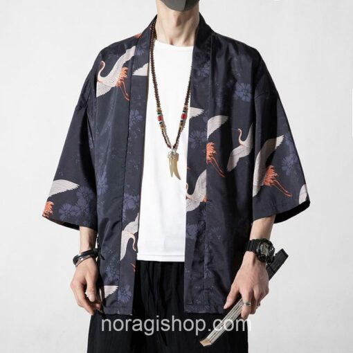 Dark Cranes Pattern Traditional Streetwear Noragi 1