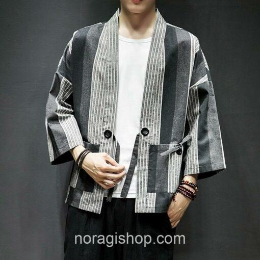 Dark Color Striped Streetwear Noragi 5
