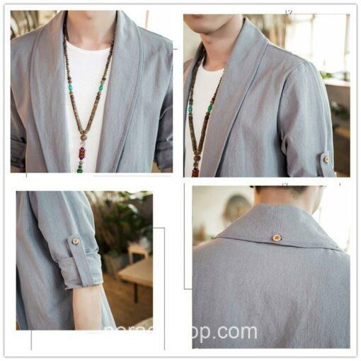 Bright Gray Linen Style Noragi 1