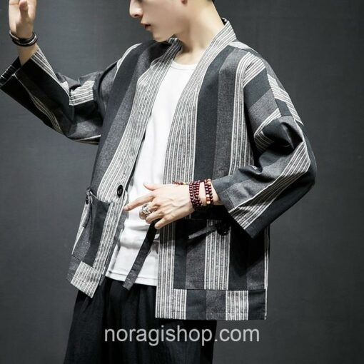 Dark Color Striped Streetwear Noragi 7