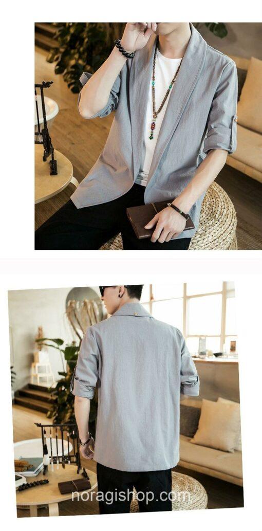 Bright Gray Linen Style Noragi 5