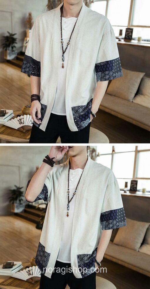 Beige Traditional Pattern Streetwear Noragi 7