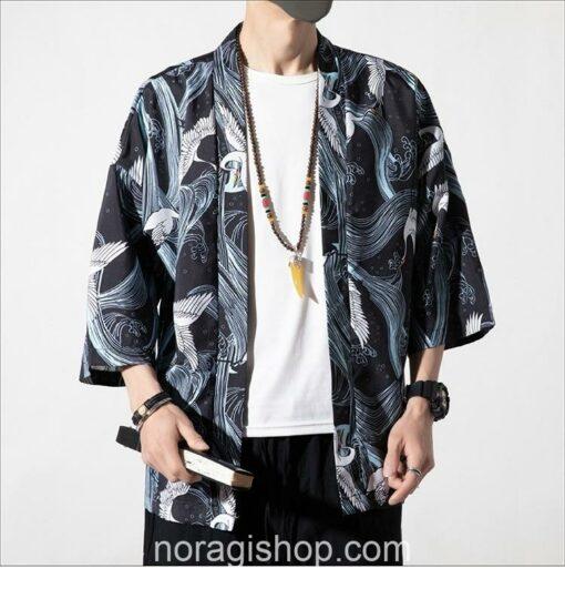 Cranes Blue Pattern Traditional Streetwear Noragi 3