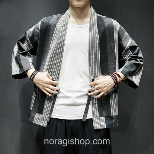 Dark Color Striped Streetwear Noragi 8