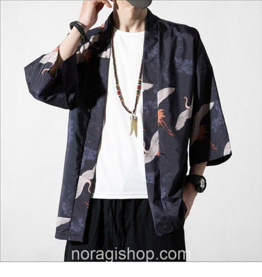 Dark Cranes Pattern Traditional Streetwear Noragi 3