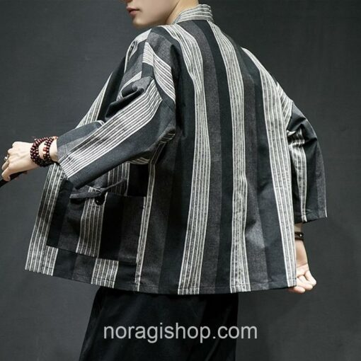 Dark Color Striped Streetwear Noragi 9