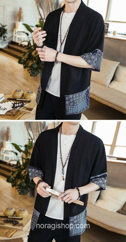 Black Traditional Pattern Streetwear Noragi 6
