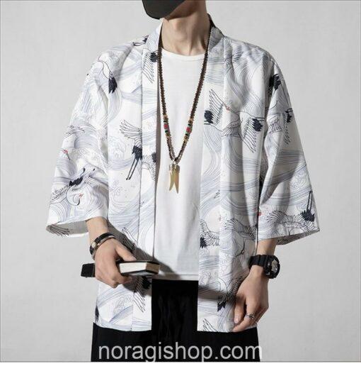 White Cranes Pattern Traditional Streetwear Noragi 4