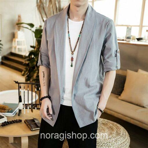 Bright Gray Linen Style Noragi 2
