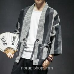 Dark Color Striped Streetwear Noragi 1