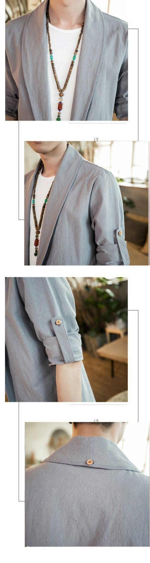 Bright Gray Linen Style Noragi 6