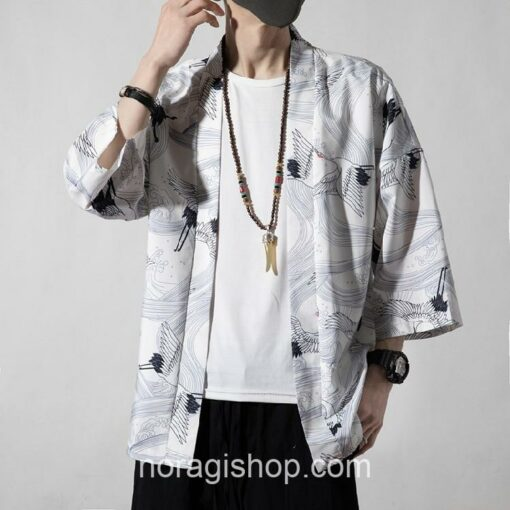 White Cranes Pattern Traditional Streetwear Noragi 2