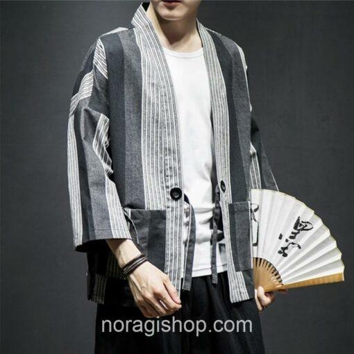 Dark Color Striped Streetwear Noragi 6