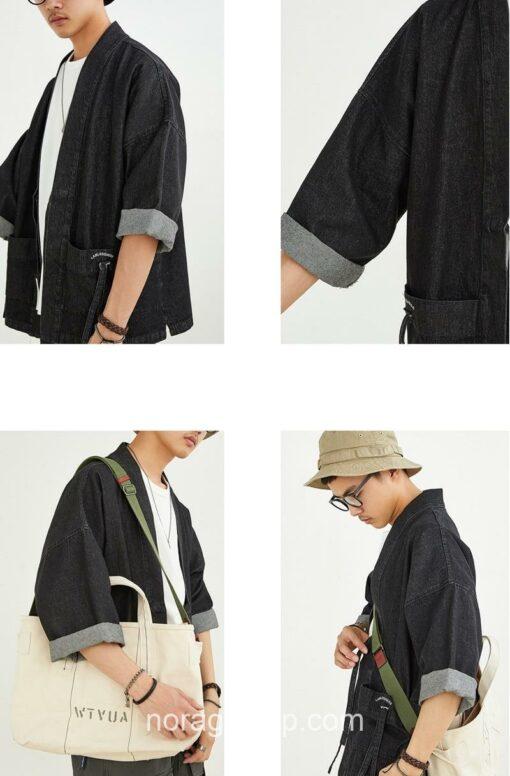 Black Denim Streetwear Noragi 8