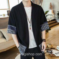 Black Traditional Pattern Streetwear Noragi 1