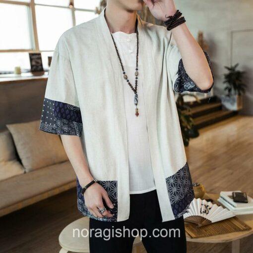 Beige Traditional Pattern Streetwear Noragi 3