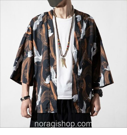 Cranes Brown Pattern Traditional Streetwear Noragi 3