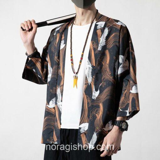 Cranes Brown Pattern Traditional Streetwear Noragi 1