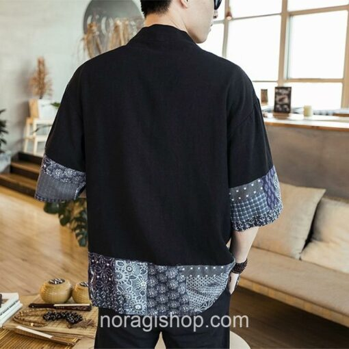 Black Traditional Pattern Streetwear Noragi 2