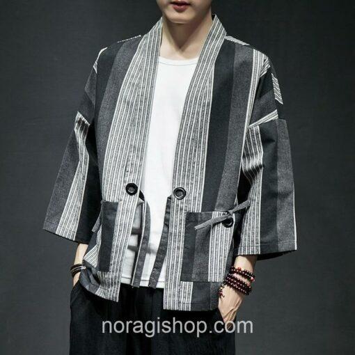 Dark Color Striped Streetwear Noragi 3