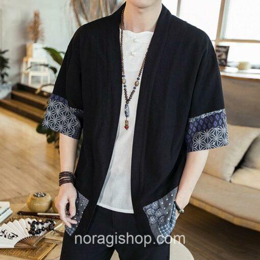 Black Traditional Pattern Streetwear Noragi 5