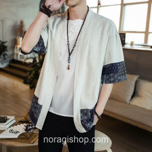 Beige Traditional Pattern Streetwear Noragi 1