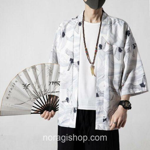 White Cranes Pattern Traditional Streetwear Noragi 1
