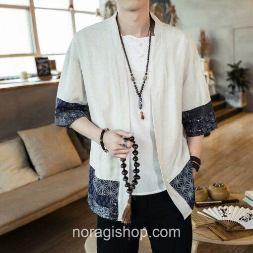 Beige Traditional Pattern Streetwear Noragi 4