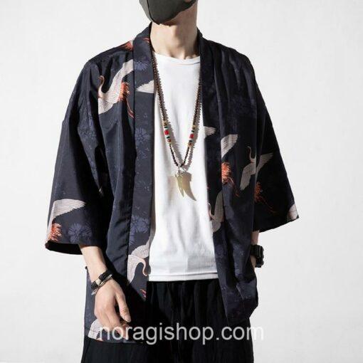 Dark Cranes Pattern Traditional Streetwear Noragi 2