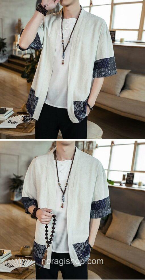 Beige Traditional Pattern Streetwear Noragi 6