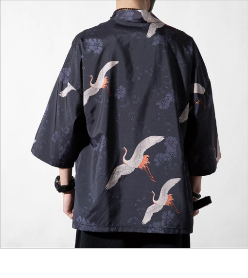 Dark Cranes Pattern Traditional Streetwear Noragi 4